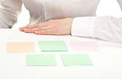 Blank paper notes on the table Stock Photo