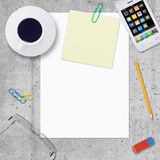 Blank paper with office work elements around Royalty Free Stock Image