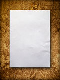 Blank paper on old wall. Blank White A4 paper on old orange wall Stock Photography