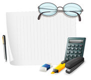 Blank paper and other stationaries Royalty Free Stock Photo