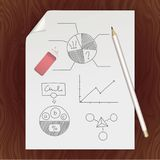 Blank paper page, pencil, eraser, chart template. Graphite pencil anr eraser on a white sheet of writing paper with a curved corner. An paper page with a hand Royalty Free Stock Images