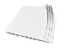 Blank paper pages. On white background. 3d rendering illustration Royalty Free Stock Images