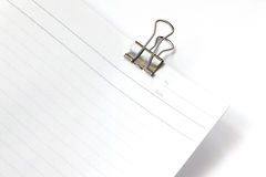 Blank paper with paper clip isolated on white Stock Photo