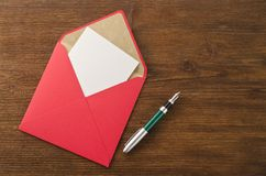 Blank paper, pen and envelope Stock Images