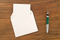 Blank paper, pen and envelope Royalty Free Stock Photos