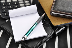 Blank paper and pen on work desk Royalty Free Stock Image