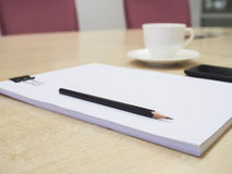 Blank paper with pencil and coffee,Business Meeting room Royalty Free Stock Photos
