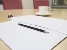 Blank paper with pencil and coffee,Business Meeting room Stock Image