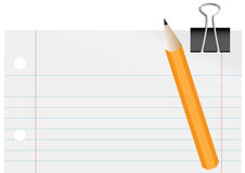 Blank Paper, Pencil and Paper Clip Royalty Free Stock Photos