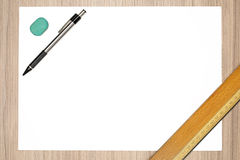 Blank paper with pencil Stock Photography