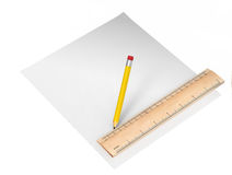 Blank paper and a pencil Royalty Free Stock Photography