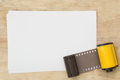 Blank paper with photo film in cartridge Stock Photography