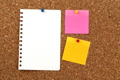 Blank paper pinned to a notice board. Pink, yellow and white pieces of paper pinned to a rectangular cork notice board royalty free stock photos