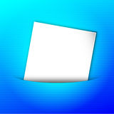 Blank paper in pocket. Vector illustration of blank white letter paper for your message in blue striped pocket, post-it note Stock Photos