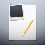 Blank paper and polaroid photo frame Stock Photos