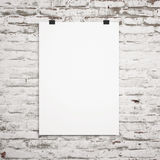 Blank paper poster on white wall. 3d. Blank paper poster on white wall Stock Photo