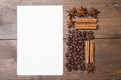 Blank paper for recipes  with coffee and spices Royalty Free Stock Images