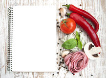 Blank paper for recipes with ingredients Royalty Free Stock Photo