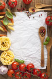 Blank paper for recipes with tomatoes pasta pepper Royalty Free Stock Photography