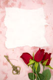 Blank paper with red rose and old key Royalty Free Stock Photography