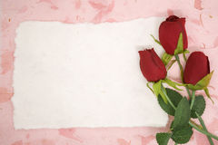Blank paper with red rose Royalty Free Stock Photo