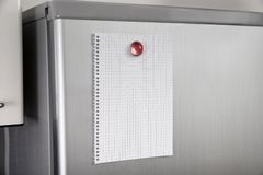 Blank paper on refrigerator door Royalty Free Stock Images