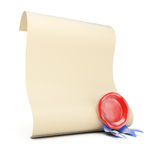 Blank paper roll with wax seal. Isolated on white background. 3d render Stock Photography
