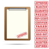 Blank paper with rubber stamp Royalty Free Stock Photos