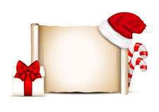 Blank paper with Santa Hat on a winter christmas background.  Royalty Free Stock Images