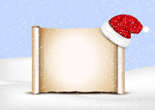 Blank paper with Santa Hat on a winter christmas Stock Photo
