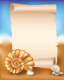 Blank paper scroll on summer background with seash Stock Photos