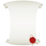 Blank Paper Scroll with Wax Seal. Vector Image Royalty Free Stock Photography