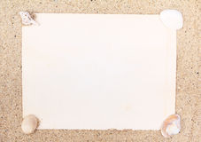 Blank paper and sea shell Royalty Free Stock Photos