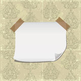 Blank paper on shabby retro seamless wallpaper Royalty Free Stock Images