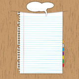 Blank paper sheet. And bookmark on wooden background Royalty Free Stock Photo