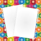 Blank paper sheet. Blank document on colorful flower backgrounds Royalty Free Stock Photography