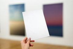 Blank paper sheet / poster, invitation, sign / in the gallery royalty free stock images