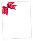 Blank paper sheet with red bow Stock Images