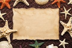 Blank paper sheet and shells on fishing net and wooden background royalty free stock images