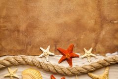 Blank paper sheet, starfish, shell and rope on beach royalty free stock image