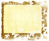 Blank paper sheet on wooden grunge background. Empty retro paper page with white butterflies border on a worn wooden texture and a white background vector illustration