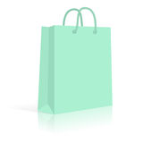 Blank Paper Shopping Bag With Rope Handles. Mint. Vector Stock Photos