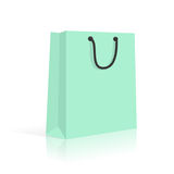 Blank Paper Shopping Bag With Rope Handles. Mint. Vector Royalty Free Stock Photo