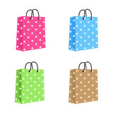 Blank Paper Shopping Bag With Rope Handles. Set Royalty Free Stock Image