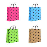 Blank Paper Shopping Bag With Rope Handles. Set Royalty Free Stock Photography