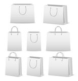 Blank paper shopping bags set isolated on white Royalty Free Stock Photography