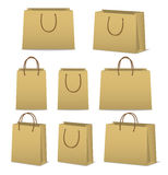 Blank paper shopping bags set isolated on white Stock Image