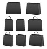 Blank paper shopping bags set isolated on white Royalty Free Stock Photos