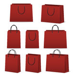 Blank paper shopping bags set isolated on white Stock Photos