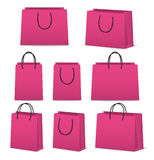 Blank paper shopping bags set isolated on white Stock Photography